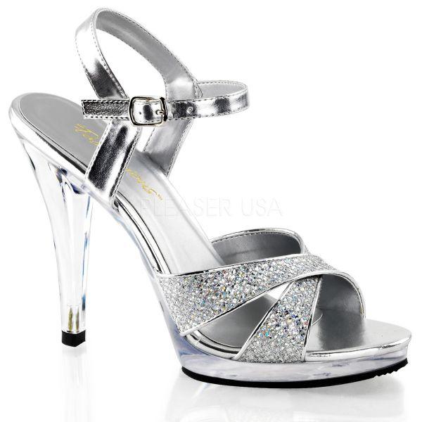 Silber Glitter Strass Riemchen-Sandalette mit Mini-Plateau FLAIR-419G